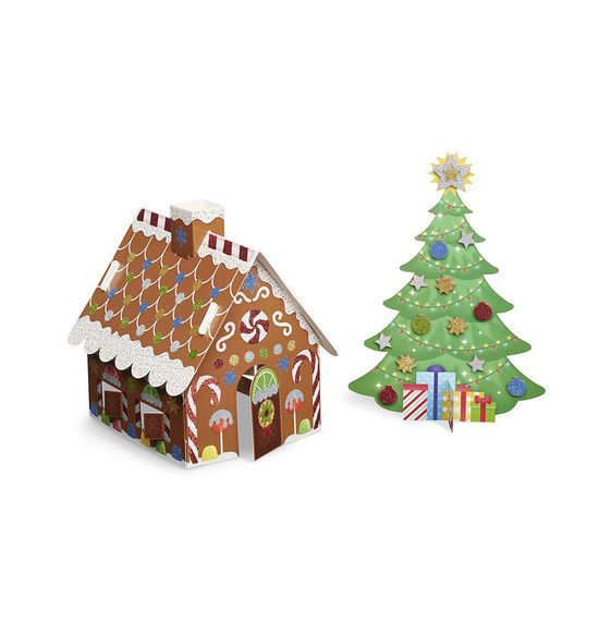 Melissa & Doug Mess Free Glitter - Christmas Tree & Gingerbread House