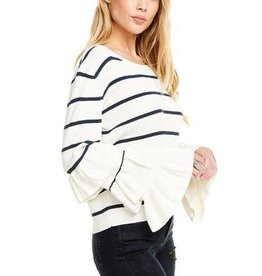 Chaser Tiered Rufled Sleeve Sweater