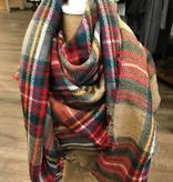 Bijoux USA Tan Plaid Blanket Scarf