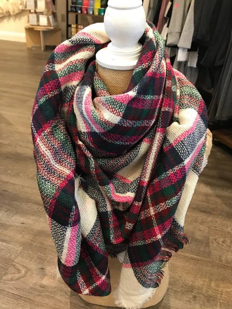 Bijoux USA White Plaid Blanket Scarf