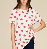 Jodifl Heart Print Top with Twist Detail