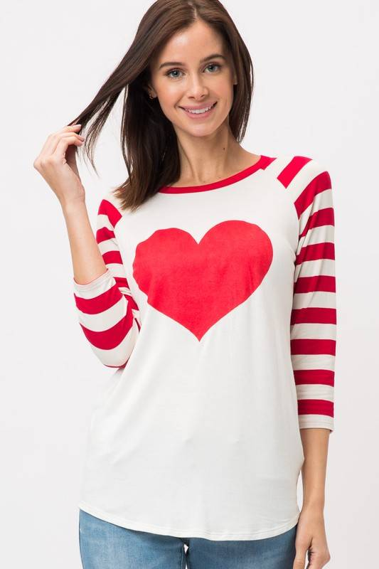 Sweet Claire Women's Heart Stripe Shirt