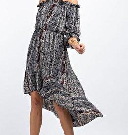 143 Story Leaf Print Off The Shoulder Dress