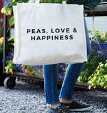 24 Carrot Canvas Tote- Peas, Love & Happiness Tote