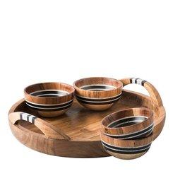 Juliska Stonewood Stripe 5 Piece Appetizer Set Tray & 4 Bowls
