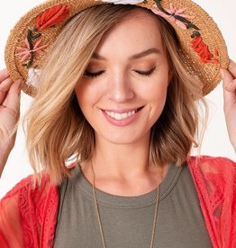 Avenue Zoe Floral Embroidered Straw Panama Hat