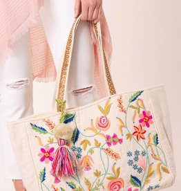 Avenue Zoe Embroidered Floral Tote Bag