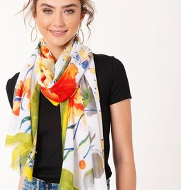 Avenue Zoe Water Paint Floral Pattern Scarf