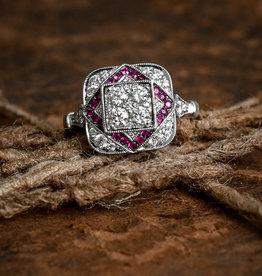 Shy Creation 14WG Diamond & Ruby Ring-Size 7