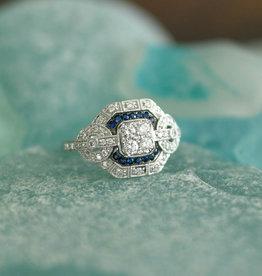 Shy Creation 14WG Diamond & Blue Sapphire Ring-Size 7