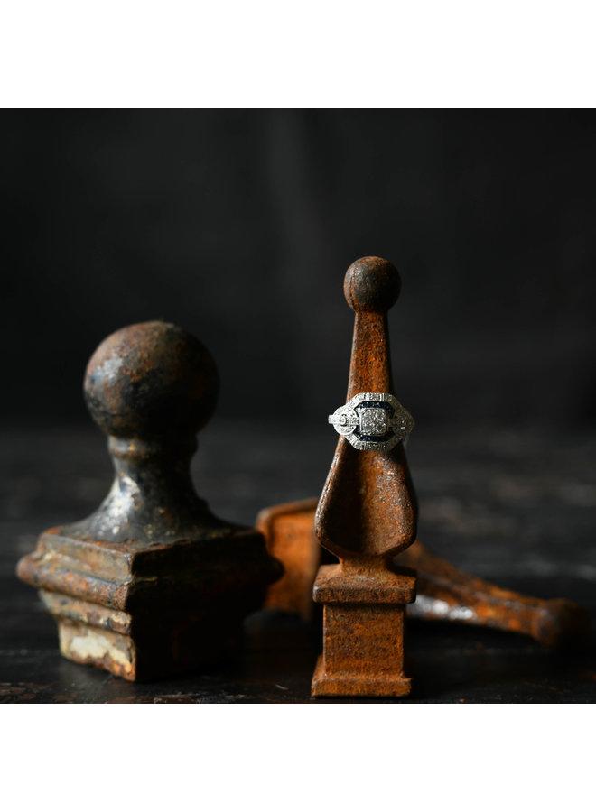 14WG Diamond & Blue Sapphire Ring-Size 7