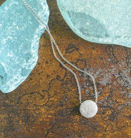 Shy Creation 14K WG Diamond Pave Circle Necklace