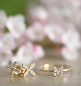 Shy Creation 14KY Diamond Flower Stud Earrings