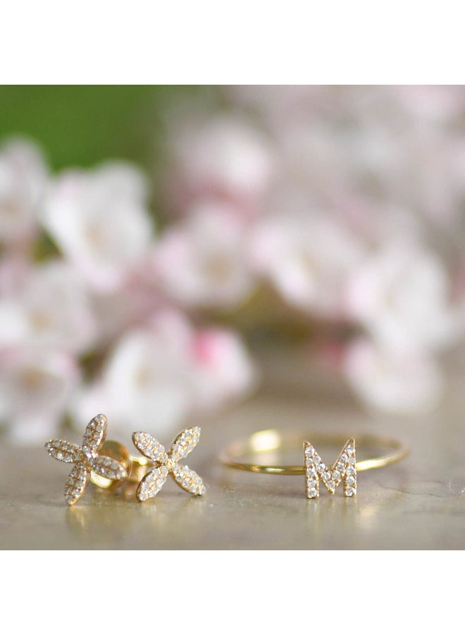 14K Yellow Gold and Diamond Flower Stud Earrings (.16ct)