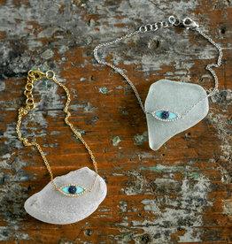 Shy Creation 14KY Blue Sapphire & Turquoise Evil Eye Bracelet