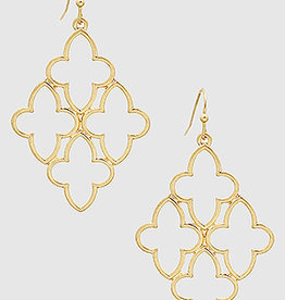Bijoux USA Metal Quatrefoil Drop Earrings -