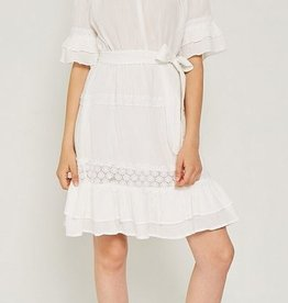 Hayden Los Angeles Off Shoulder Ruffle LAce Midi Dress