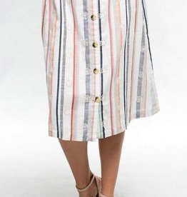 LOVESTITCH Striped Midi Skirt