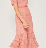 Hayden Los Angeles Eyelet Ruffle Maxi Dress Salmon