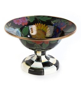 MacKenzie-Childs Flower Market Small Compote-Black