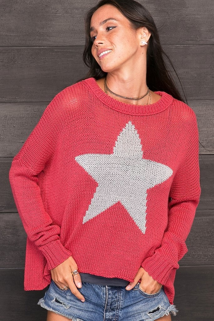 Wooden Ships Star Slouchy Crew Neck Sweater