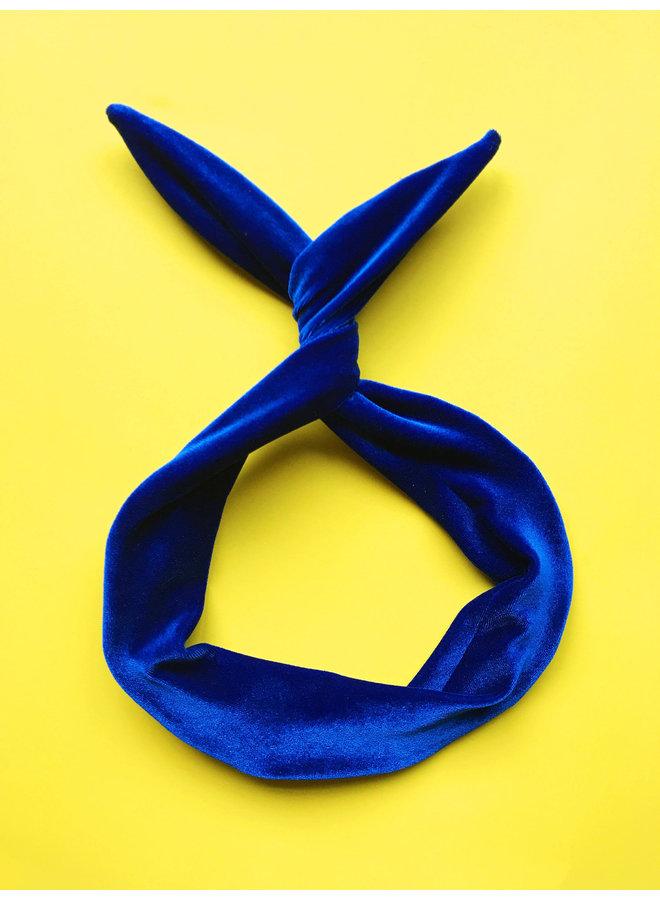 Byrd Headband-Royal Blue Velvet