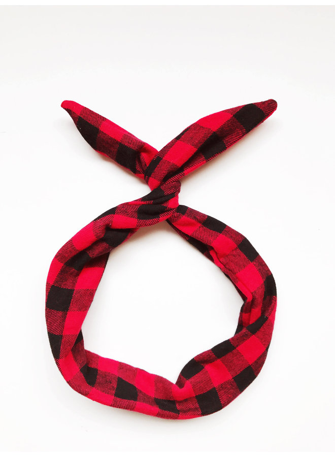 Byrd Headband-Red/Black Buffalo Plaid