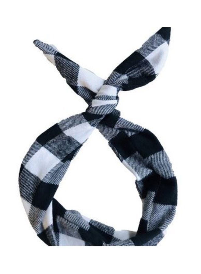 Byrd Headband-Black/White Buffalo Plaid