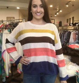 Fate Mutli Stripe Pull over Sweater