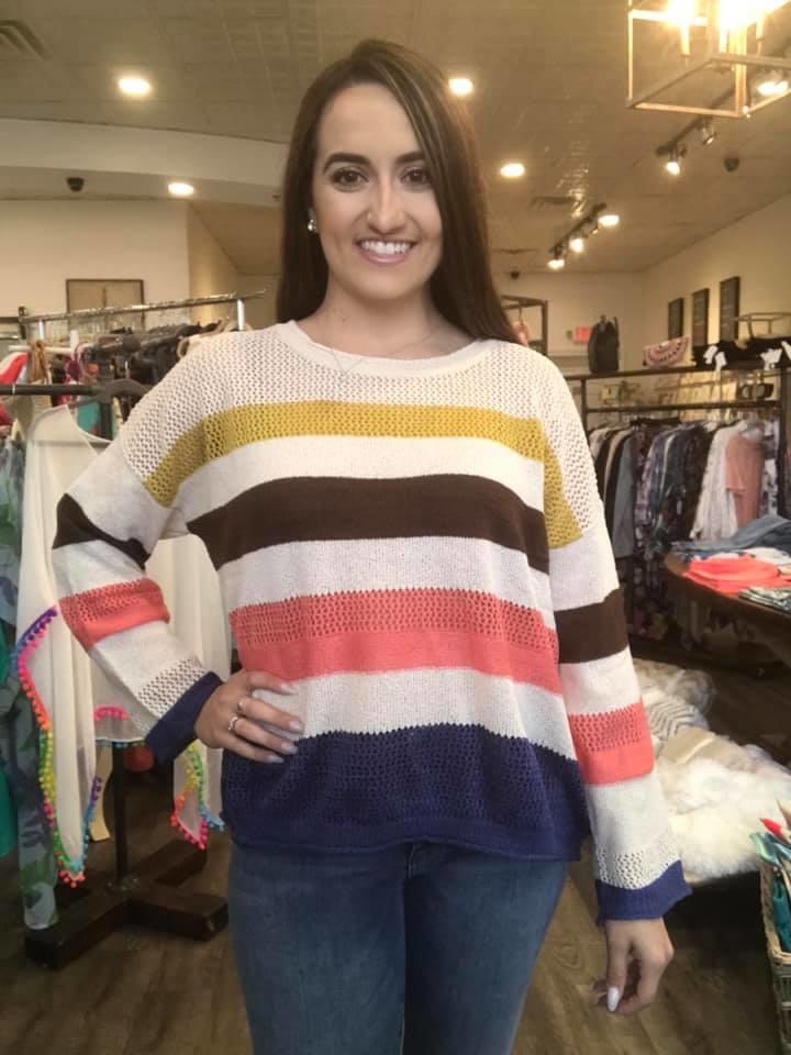 Fate Mutli Stripe Pull over Sweater
