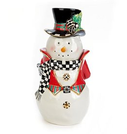 MacKenzie-Childs Top Hat Snowman Cookie Jar