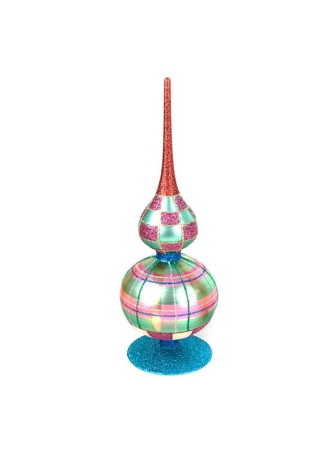 Home Sweet Snow Glass Finial - Double