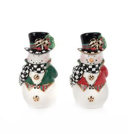 MacKenzie-Childs Top Hat Snowman Salt & Pepper Set