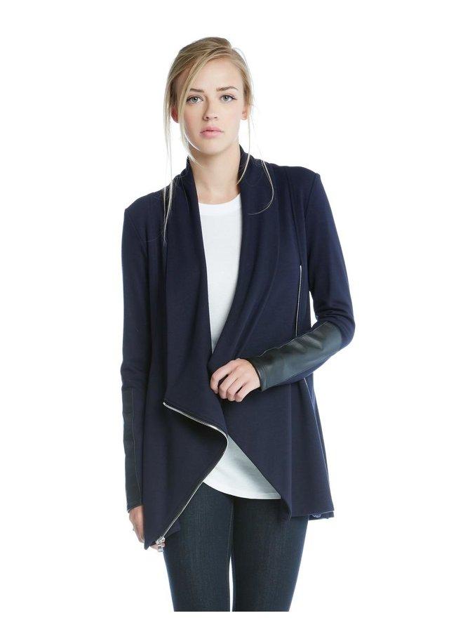 Drape Leather Patch Jacket