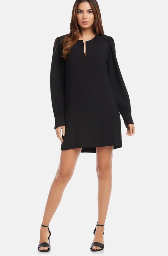 Fifteen Twenty Split Neck Shift Dress
