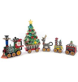 MacKenzie-Childs Christmas Train- 5 Piece Ceramic Set