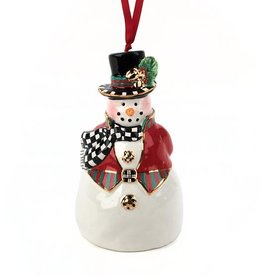 MacKenzie-Childs Top Hat Snowman Bell Ornament