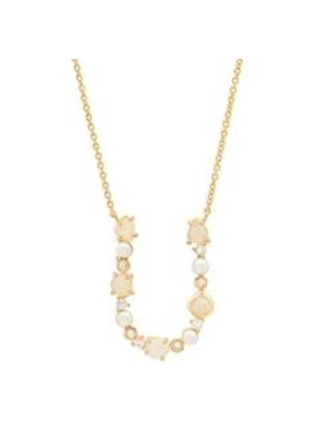 Neutral Stone Monogram Pendant Necklace-