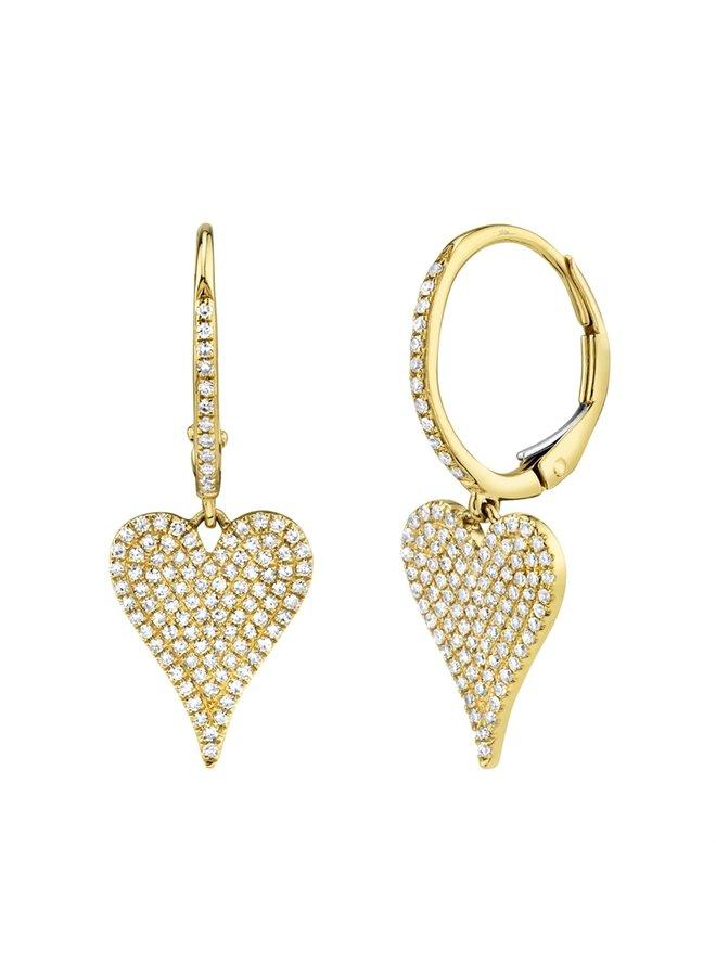 14KYG Pave Heart Earring