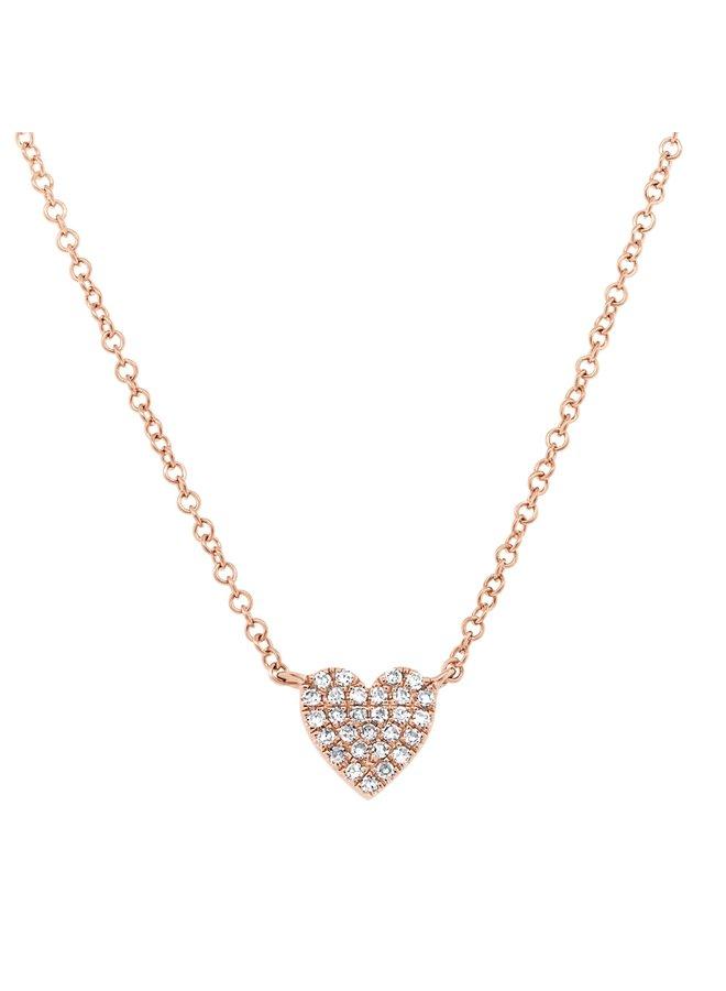 14RG Diamond Pave HEart Necklace