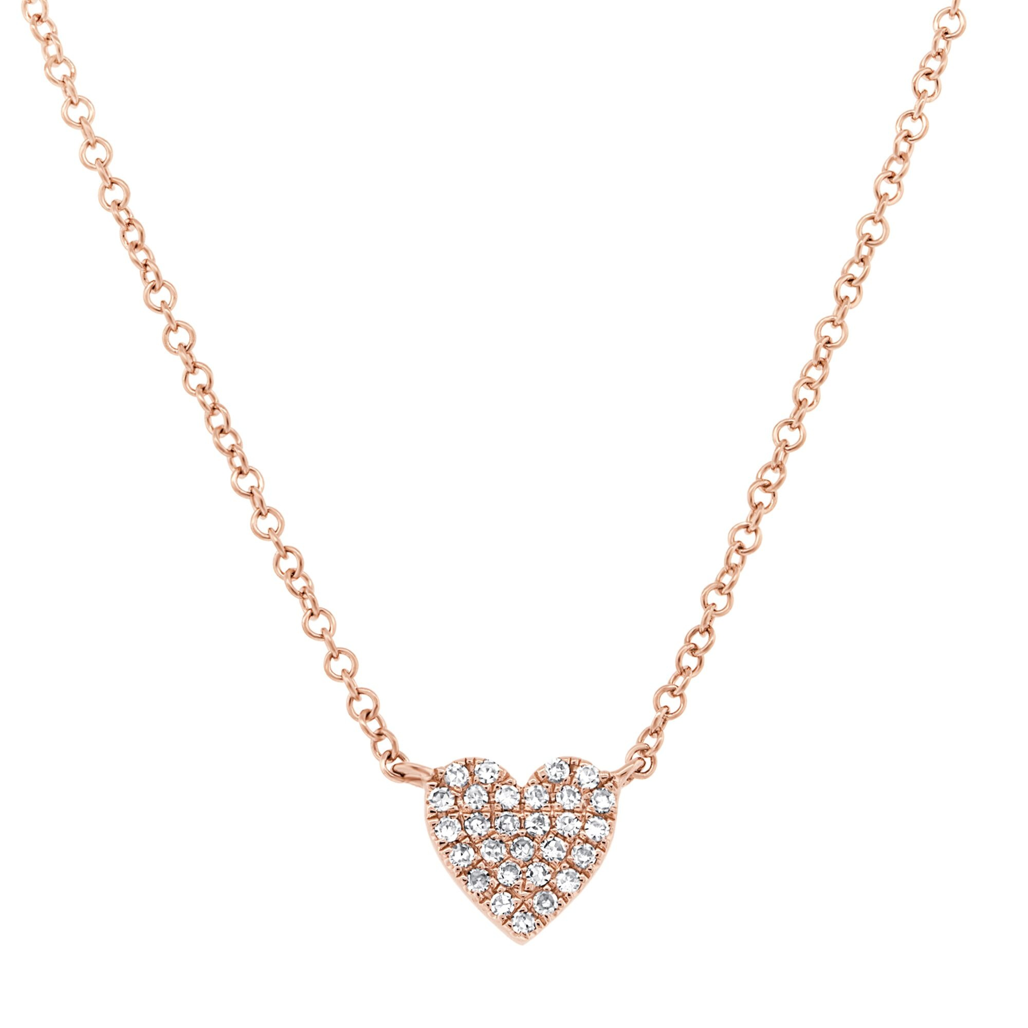 Shy Creation 14RG Diamond Pave HEart Necklace