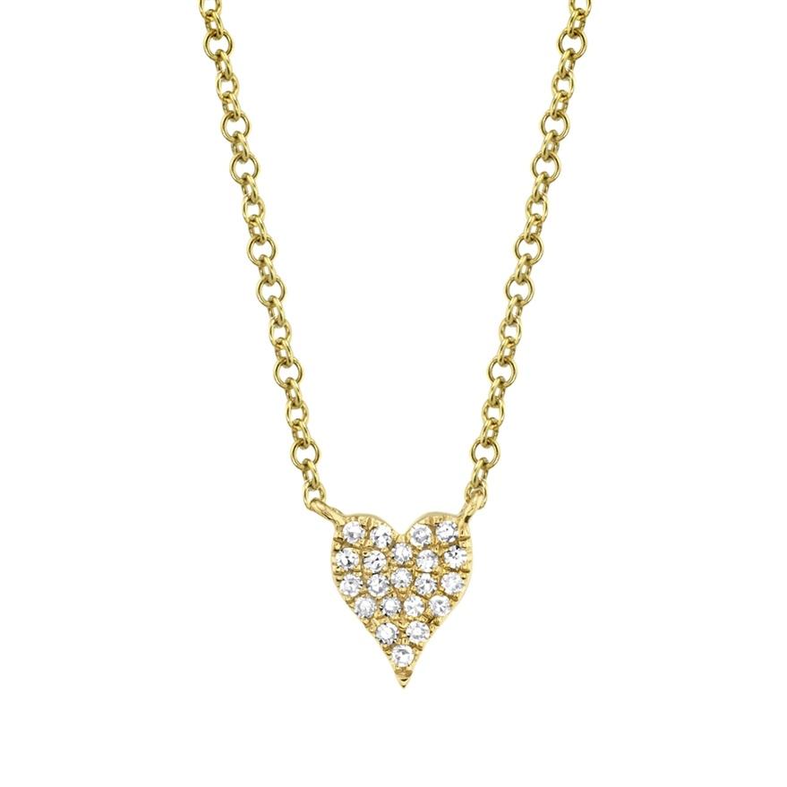 Shy Creation 14KYG Diamond Pave HEart Neclace