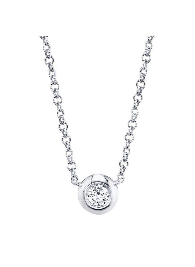 14K Diamond Bezel Necklace -