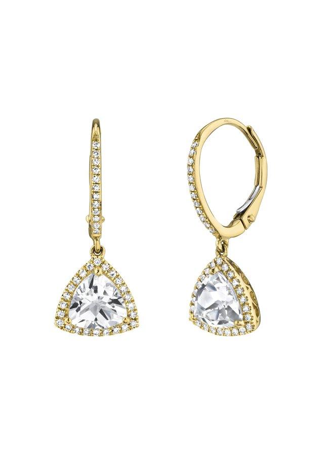 0.21Ct YG Diamond & White Topaz Triangle Earring