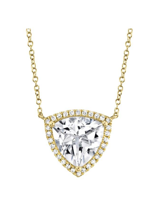 0.09Ct YG Diamond & White TOpaz Triangle Necklace
