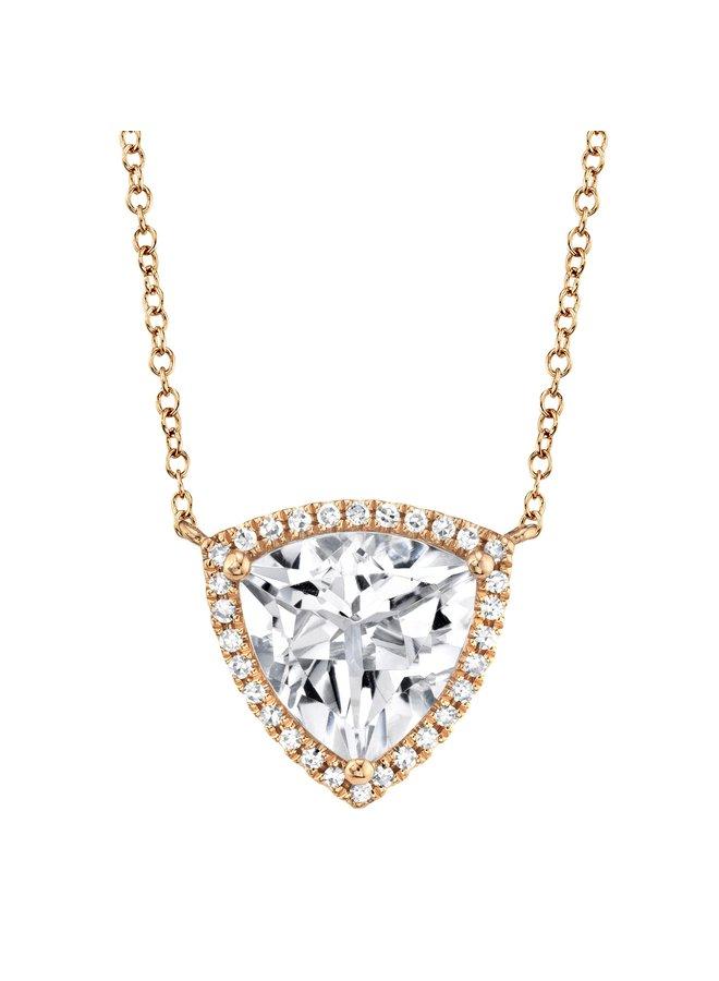 0.09Ct RG Diamond & White TOpaz Triangle Necklace