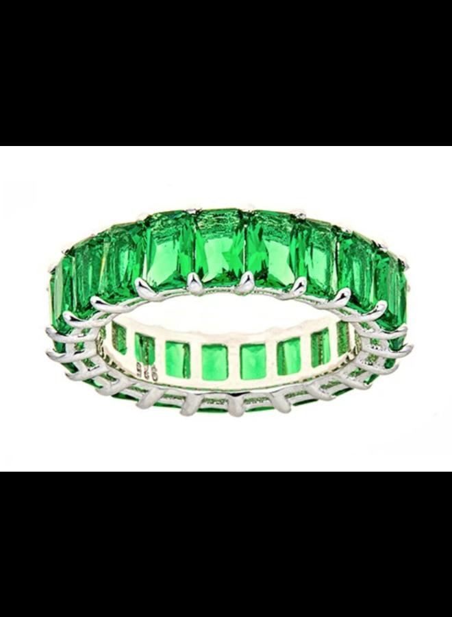 Green Emerald CZ Eternity Ring