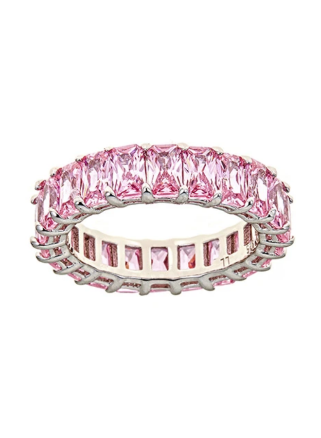 Pink Sapphire CZ Eternity Ring