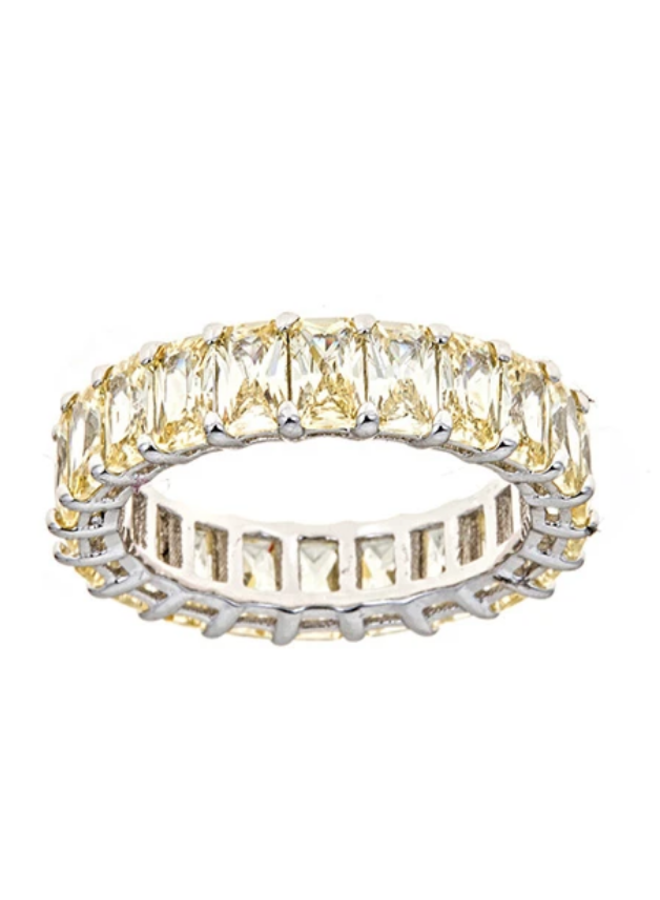 Yellow Diamond CZ Eternity Ring