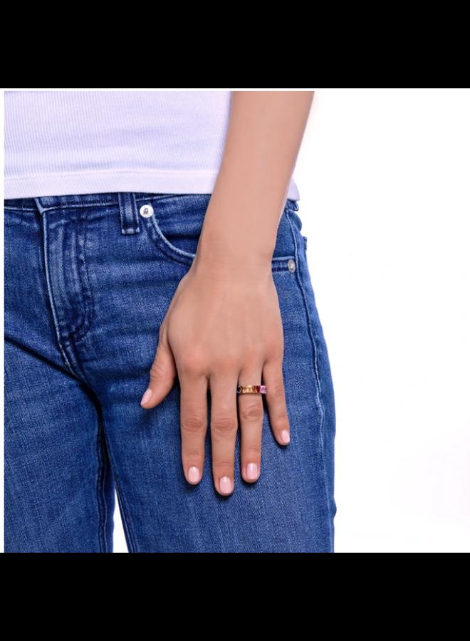 Rainbow Sapphire CZ Emerald Eternity Ring